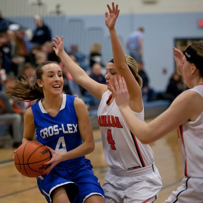 Richmond's Ally Swantek takes a shot during a Class B district semifinal basketball game Wednesday at Yale High School.