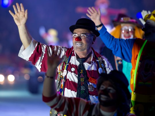 "Van ""Jasper"" Haas waves to the crowd during the 84th Hadi Shrine Circus at The Ford Center in Evansville, Ind., on Friday, Nov. 24, 2017. Jasper was named the 2017 International Shrine Clown Association Clown of the Year in February."
