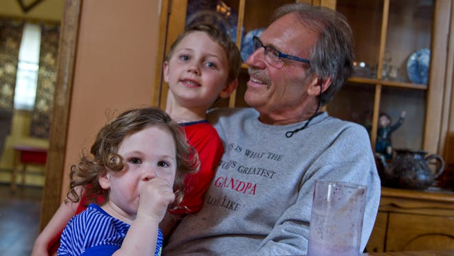 Dennis DiBenedetto spends time with his grandchildren, Audrey Stapp, 2, and Gavin Hanlon, 6, while enjoying a smoothie for lunch. Dennis DiBenedetto recently underwent groundbreaking surgery at Monmouth Medical Center to repair his upper digestive system.