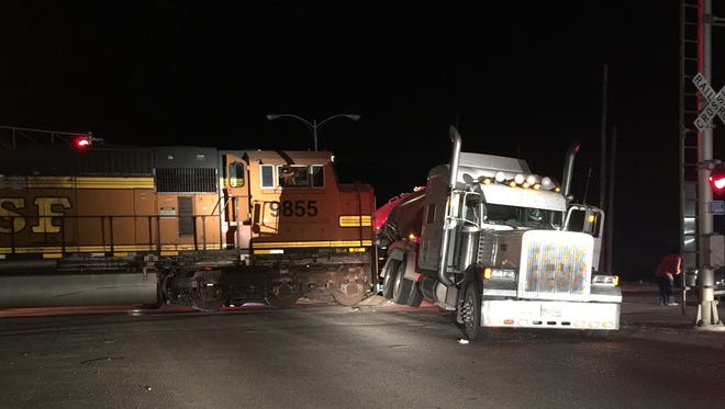 A BNSF switch engine collided with a semi-tractor/trailer on Monday morning at the crossing on Greene Street and Park Avenue in Carlsbad.