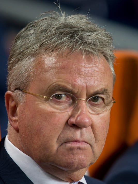 In this Friday Netherlands head coach Guus Hiddink watches his players prior to the Euro 2016 qualifying match between The Netherlands and Kazakhstan at ArenA stadium in Amsterdam, Netherlands. Guus Hiddink says he is willing to become a technical advisor to South Korea's football team at the World Cup next year, but has dismissed rumors that he will again be appointed coach of the team during a press conference in Amsterdam Thursday Sept. 14, 2017. Hiddink has been revered in South Korea ever since he led the team to the semifinals of the World Cup in 2002 when Korea and Japan co-hosted the tournament. (AP Photo/Peter Dejong)
