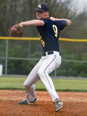 Myles Gayman pitches for Greencastle-Antrim during a baseball game in Shippensburg on Thursday. Gayman struck out 14 in his six-hit complete game, a 2-1 victory.