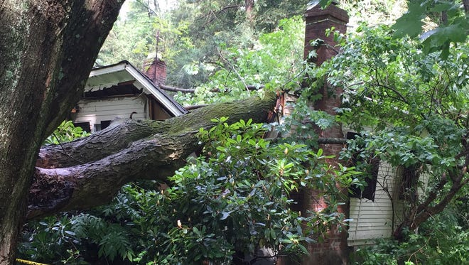 A tree fell onto house at 15 Buxton Rd in Bedford Hills. The house suffered considerable structural damage. There were no injuries.