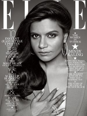 """Mindy Kaling covers one of four February issues of """"Elle."""""""