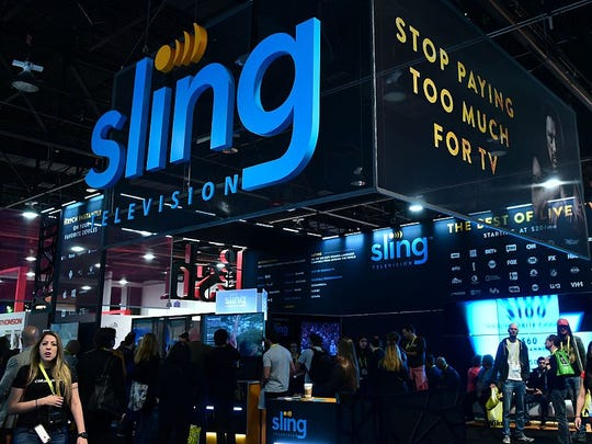 The SLING TV display booth at the 2017 Consumer Electronic Show (CES) in Las Vegas, Nevada on January 7, 2017.