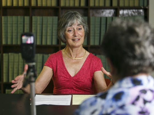 Sue Miller speaks about her tenure as Salem mayor in the 1980s to historian Hazel Patton on Monday, May 22, 2017, at the Willamette Heritage Center. Patton is interviewing nine former Salem mayors who are still living for an oral history project.