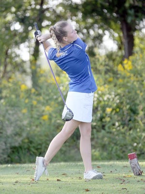Boonville golfer Rayghan Skoufos tees off on No. 5 Thursday at Hail Ridge Golf Course in Boonville. The Lady Pirates suffered their first loss of the season by losing to Blair Oaks 190-178.