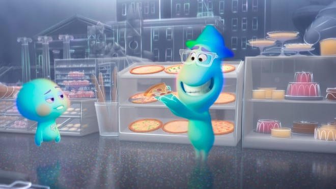 """This image shows the character 22, voiced by Tina Fey, left, and Joe Gardner, voiced by  Jamie Foxx, in a scene from the animated film """"Soul."""""""