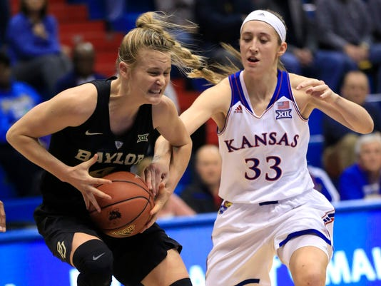 Kansas guard Kylee Kopatich (33) reaches in on Baylor guard Kristy Wallace (4) during the first half of an NCAA college basketball game in Lawrence, Kan., Wednesday, Jan. 6, 2016. (AP Photo/Orlin Wagner)