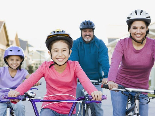 Riding bikes together is a great way to get exercise.