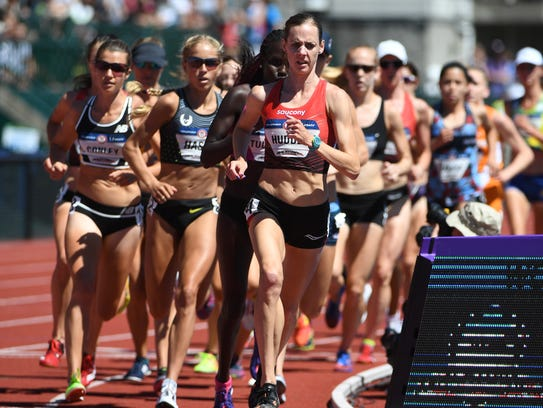Molly Huddle leads the field during the women's 10,000