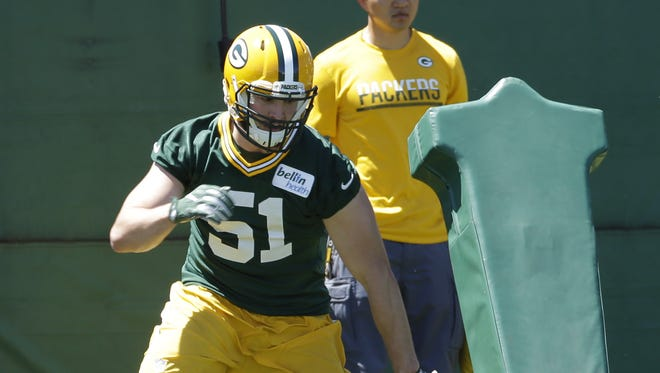 Green Bay Packers linebacker Kyler Fackrell (51) is shown during the team's organized team activities (OTA) Tuesday, June 6, 2017 in Green Bay.