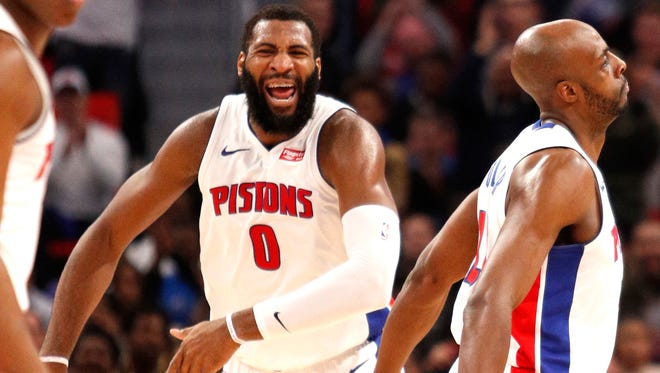 Pistons center Andre Drummond (0) celebrates during the fourth quarter against the Heat on Feb. 3.