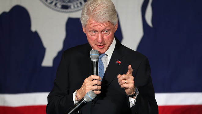 Former president Bill Clinton speaks to a crowd, Monday, April 4, 2016,  in Cheyenne, Wyo.