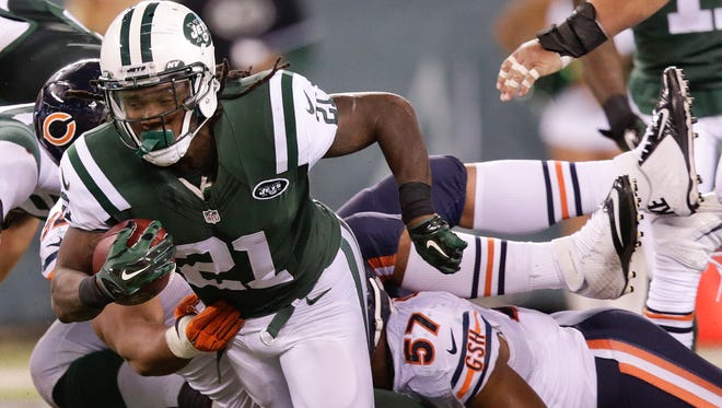 Jets running back Chris Johnson (21) was a full participant at practice on Wednesday despite being listed on the injury report with an ankle ailment.