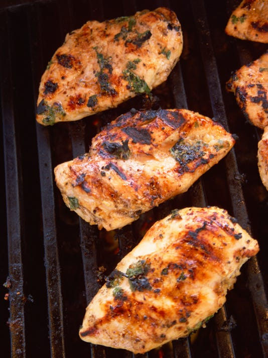 Chicken breast on grill