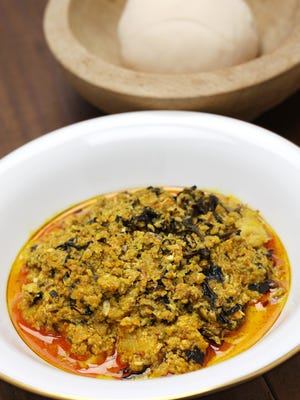 Nigerian food, like this egusi soup and pounded yam, will be served at the dinner.