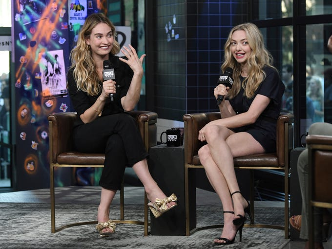 Actors Lily James, left, and Amanda Seyfried participate