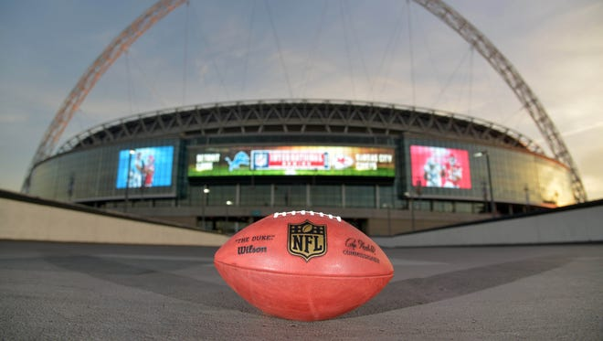 Oct 31, 2015; London, United Kingdom; General view of Wilson NFL official Duke football at Wembley Stadium in advance of the NFL International Series game between the Detroit Lions and the Kansas City Chiefs.