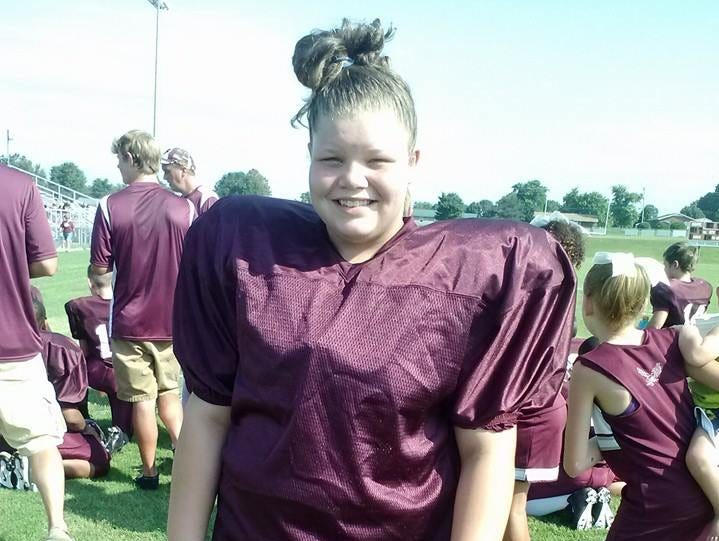 Thalia Townsend said she has loved playing football for the past two years and would like to keep doing so for the West Carroll middle school team.