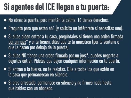 A graphic sent out in multiple language by the ACLU offering legal advice to undocumented immigrants if they are the subject of raids by the Immigration and Customs Enforcement.