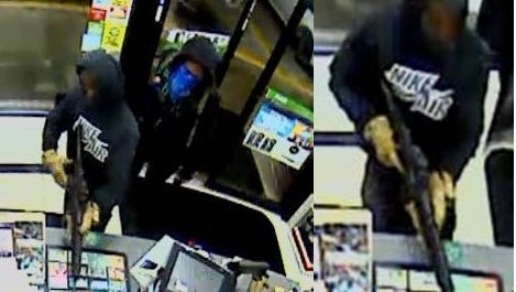 Delaware state police released two pictures Thursday morning of two suspects wanted for robbery a 7-11 on Christiana Rd. Monday morning.