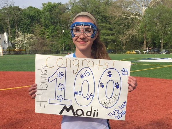 Ursuline's Madison Boutureira scored her 100th career goal in her team's 18-8 win over Ossining on Monday, May 9th, 2016.