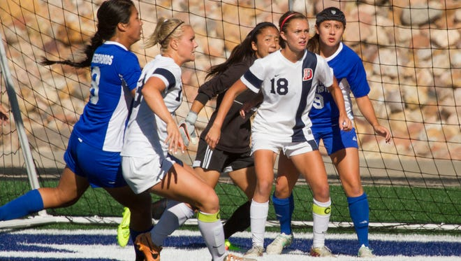 Dixie State girls soccer holds lead for 3-1 victory against Chaminade Saturday, Oct. 31, 2015.