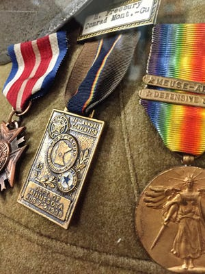 Among the medals in the Conrad Transportation and Historical Museum is a rainbow World War I victory medal.