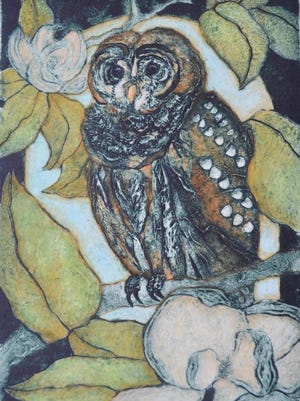 """""""Barred Owl in the Old Magnolia"""" is one of the artworks available in Butterfield Garage Art Gallery's annual Garage Sale."""