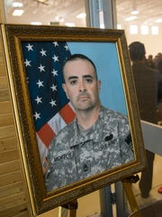 A portrait of Master Sgt. David Montoya as seen on Tuesday during his memorial service at the New Meixco National Guard Armory in Farmington.