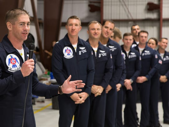 Air Force Thunderbirds pilot Major Stephen Del Bagno, 4th from left, was killed April 4, 2018, during an aerial demo in Nevada. Kevin Walsh, left, commander/leader of the Thunderbirds, addressed a crowd March 24, 2018, at Orlando Melbourne International Airport.