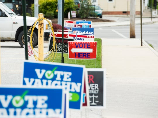 A sign points voters to of a polling station at the Hanover Community Health and Education Center in Hanover Borough's Fifth Ward on Tuesday.