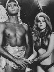"Pygar (John Phillip Law) and Barbarella (Jane Fonda) fly around the universe in ""Barbarella"" (1968)."