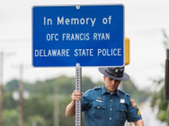 Delaware State Police Officer Francis Ryan's memorial