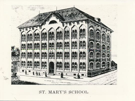 Historic image of the old St. Mary's School in Greektown