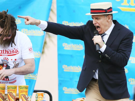 George Shea hosts the 2017 Nathan's Famous hot dog eating contest at Germain Arena. This year's event takes place Saturday at Hammond Stadium in south Fort Myers.