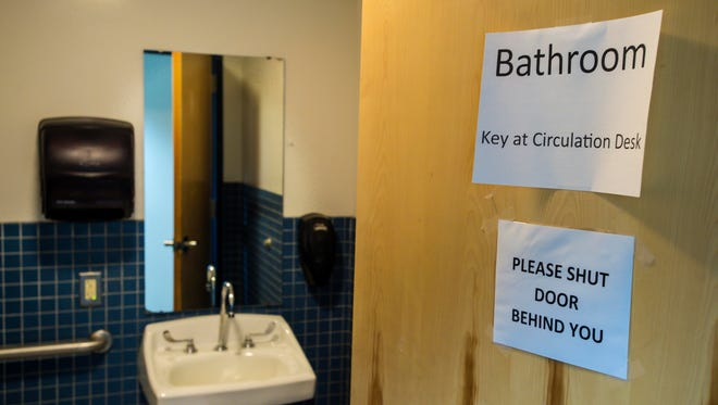 The gender-neutral, single-stall bathroom in the library at Essex High School in Essex Junction. Seen on Monday, August 22, 2016.