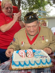 World War II Veteran Joe Celli celebrates his 92nd