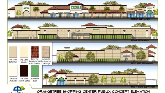 Exterior renderings for the Publix supermarket to anchor the future Neighborhood Shoppes at Orangetree on the corner of Immokalee Road and Randall Boulevard in Golden Gate Estates.