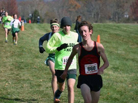 Wilson Memorial's Patrick Cash sprints to the finish line for the Class 2 boys race at the VHSL cross country championships on Saturday, Nov. 11, 2017, at Great Meadow in The Plains, Va.