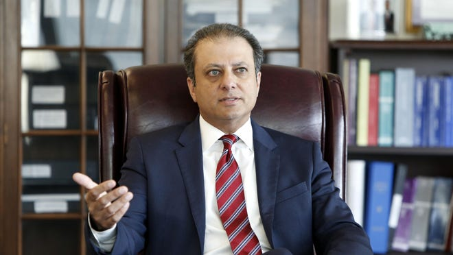Now-former U.S. Attorney Preet Bharara in his office in Manhattan.