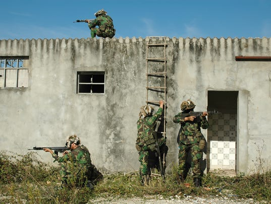 Military combat training of clearing urban areas