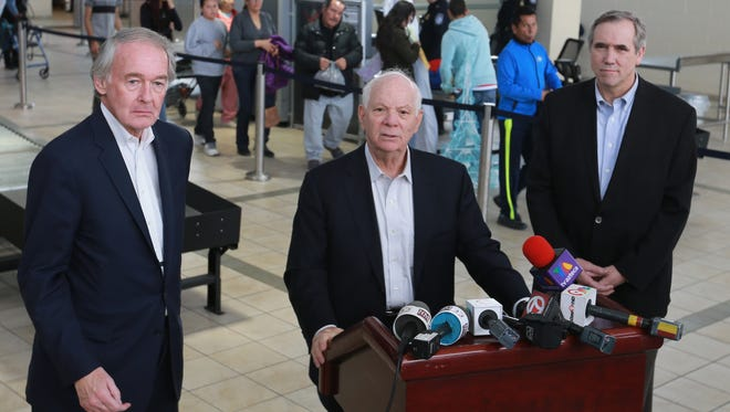 U.S. Sens. Edward Markey (D-Mass.), Ben Cardin (D-Md.) and Jeff Merkley (D-Ore.) met with members of the press to discuss their visit to the El Paso border area. They held their media conference at the Paso Del Norte port-of-entry in El Paso. People entering the U.S., background, go through processing.