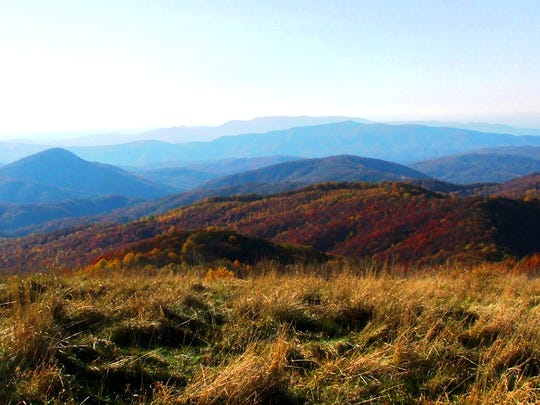 One of the many views from Max Patch bald along the Appalachian Trail.