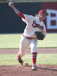 Plymouth's Jarrett Miller pitches during the division