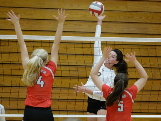 Neenah's Kaitlyn Nelson (left) and Tommy Albers try