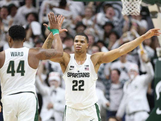 Michigan State forward Nick Ward and guard Miles Bridges