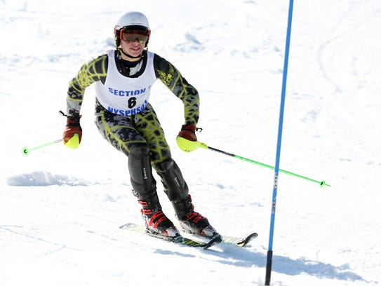 Dylan Goldstein competes in the Section 1 skiing championships