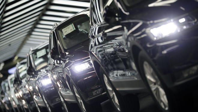 Volkswagen cars during a final quality control at the Volkswagen plant in Wolfsburg, Germany.